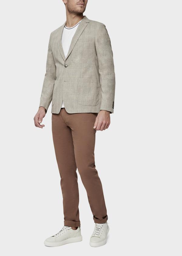 Veste casual Regular en coton marron Prince de Galles - Father and Sons 38915