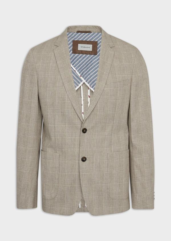 Veste casual Regular en coton marron Prince de Galles - Father and Sons 38913