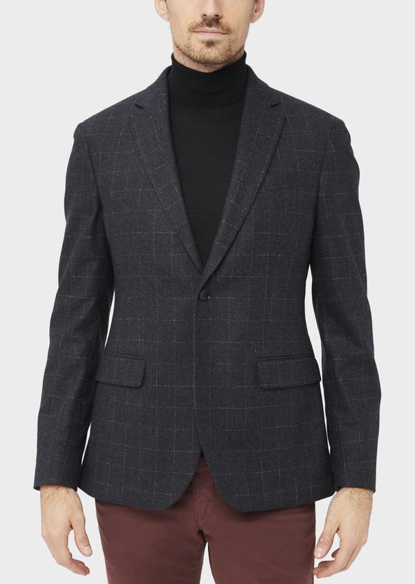 Veste coordonnable Regular en laine mélangée à carreaux gris - Father and Sons 37198