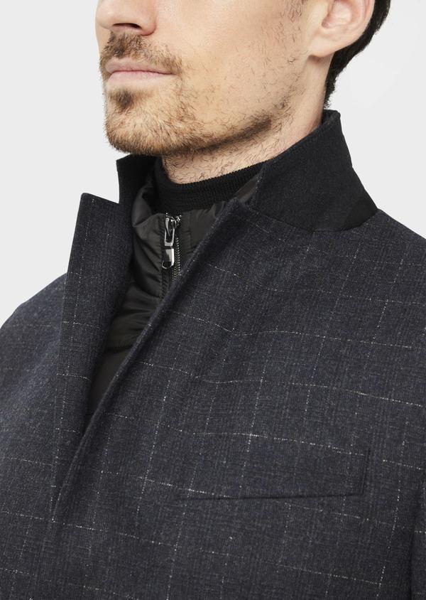 Veste coordonnable Regular en laine mélangée à carreaux gris - Father and Sons 37195