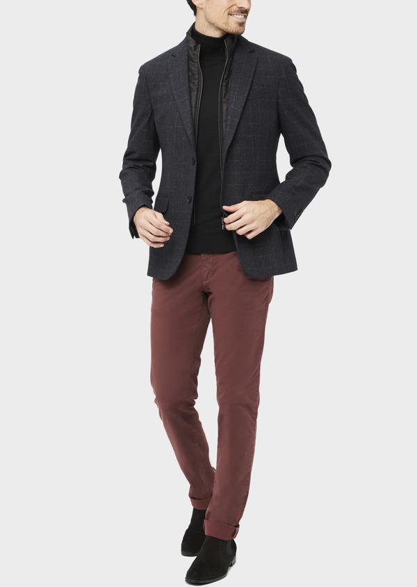 Veste coordonnable Regular en laine mélangée à carreaux gris - Father and Sons 37193