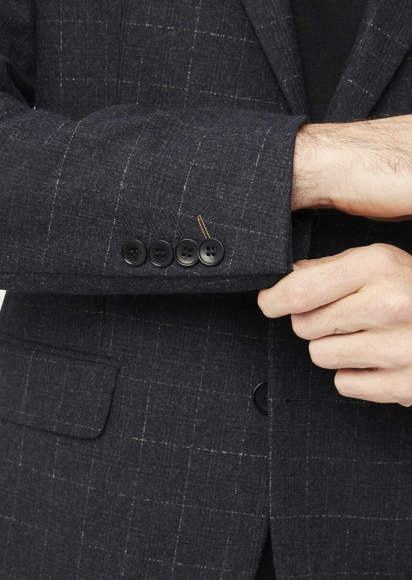 Veste coordonnable Regular en laine mélangée à carreaux gris - Father and Sons 37196