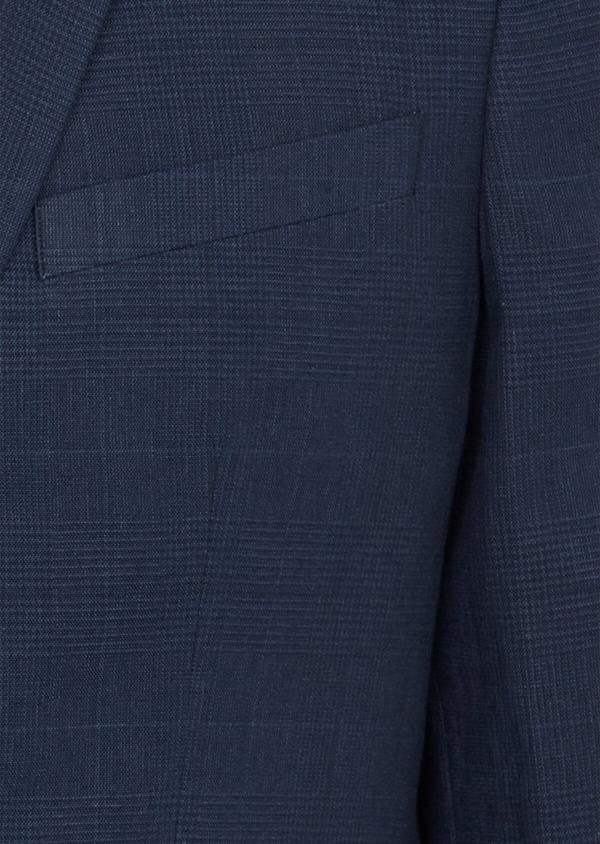 Veste coordonnable Regular en lin et coton bleu marine Prince de Galles - Father and Sons 39974
