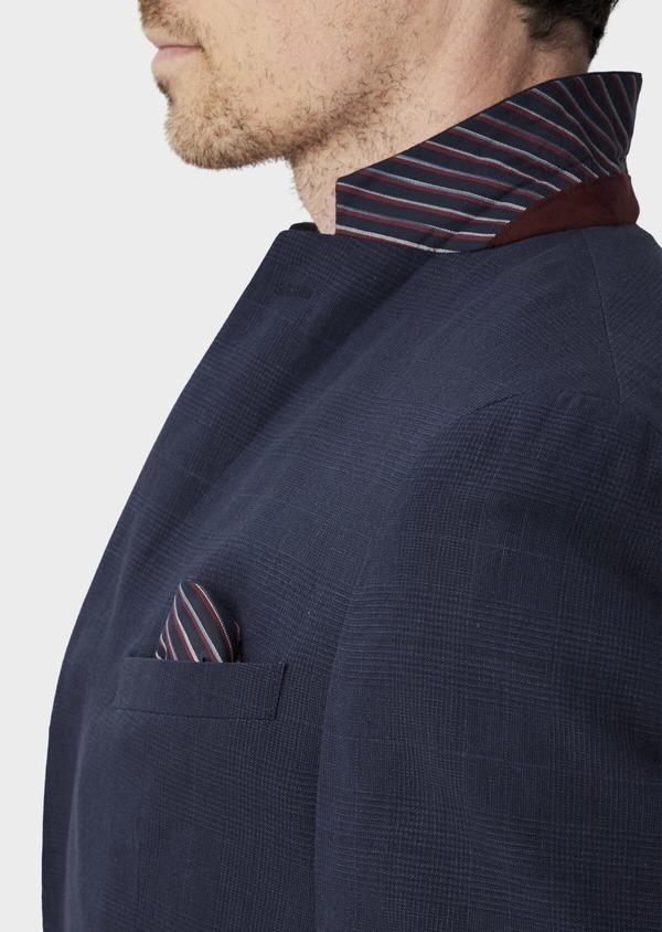 Veste coordonnable Regular en lin et coton bleu marine Prince de Galles - Father and Sons 39977