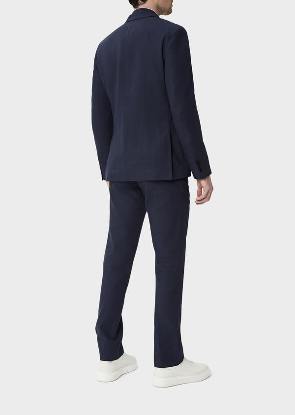Veste coordonnable Regular en lin et coton bleu marine Prince de Galles - Father and Sons 39976