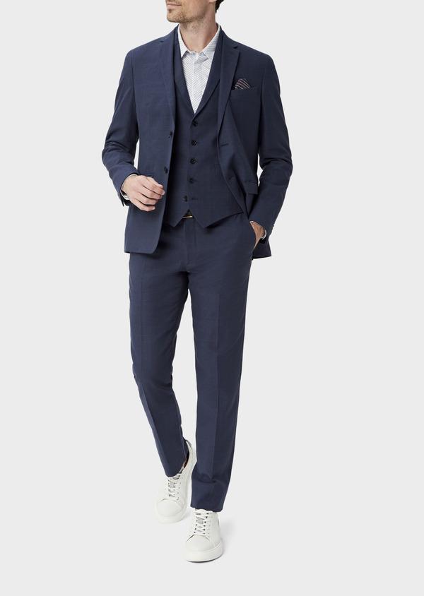 Veste coordonnable Regular en lin et coton bleu marine Prince de Galles - Father and Sons 39975