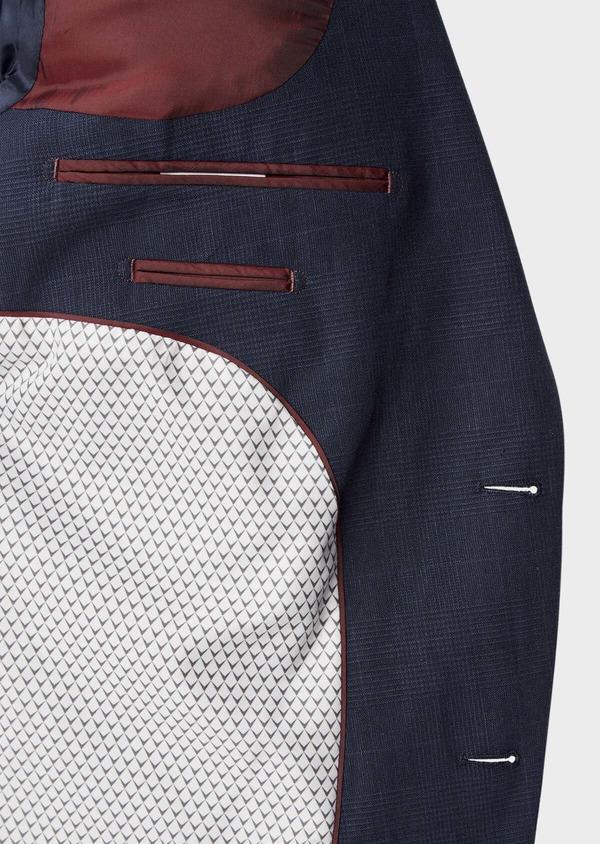 Veste coordonnable Regular en lin et coton bleu marine Prince de Galles - Father and Sons 39979
