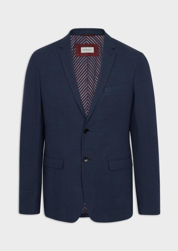 Veste coordonnable Regular en lin et coton bleu marine Prince de Galles - Father and Sons 39973