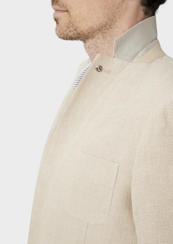 Veste coordonnable Regular en lin et coton uni beige foncé - Father and Sons 39970