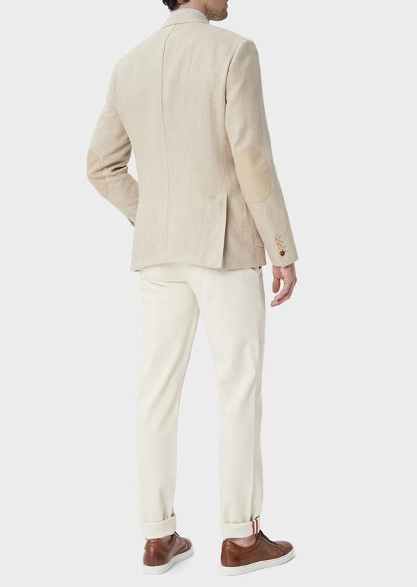 Veste coordonnable Regular en lin et coton uni beige foncé - Father and Sons 39969