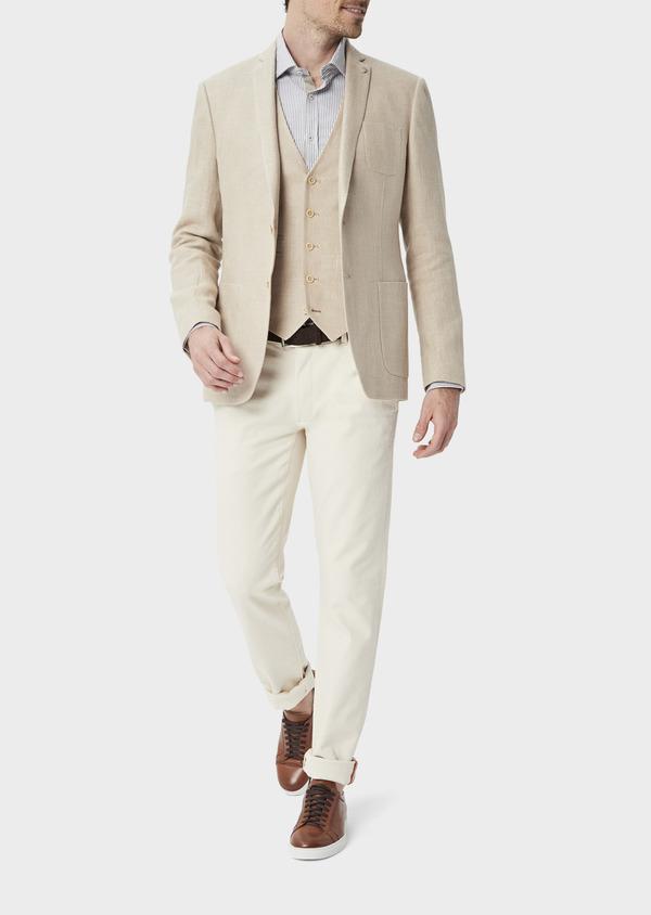Veste coordonnable Regular en lin et coton uni beige foncé - Father and Sons 39968