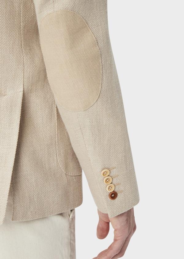 Veste coordonnable Regular en lin et coton uni beige foncé - Father and Sons 39971