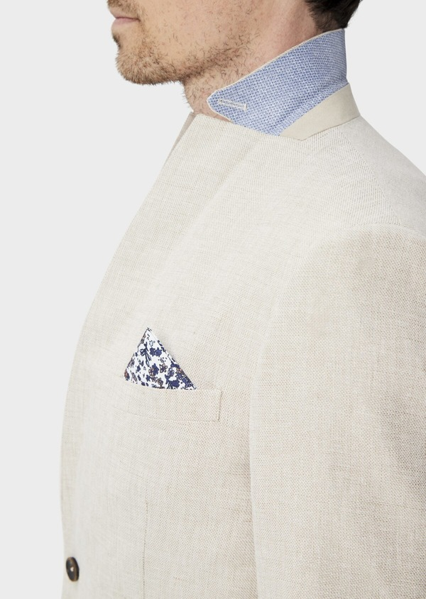 Veste coordonnable Regular en lin et coton uni beige - Father and Sons 39984