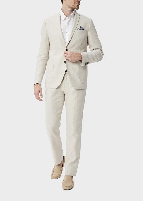 Veste coordonnable Regular en lin et coton uni beige - Father and Sons 39982