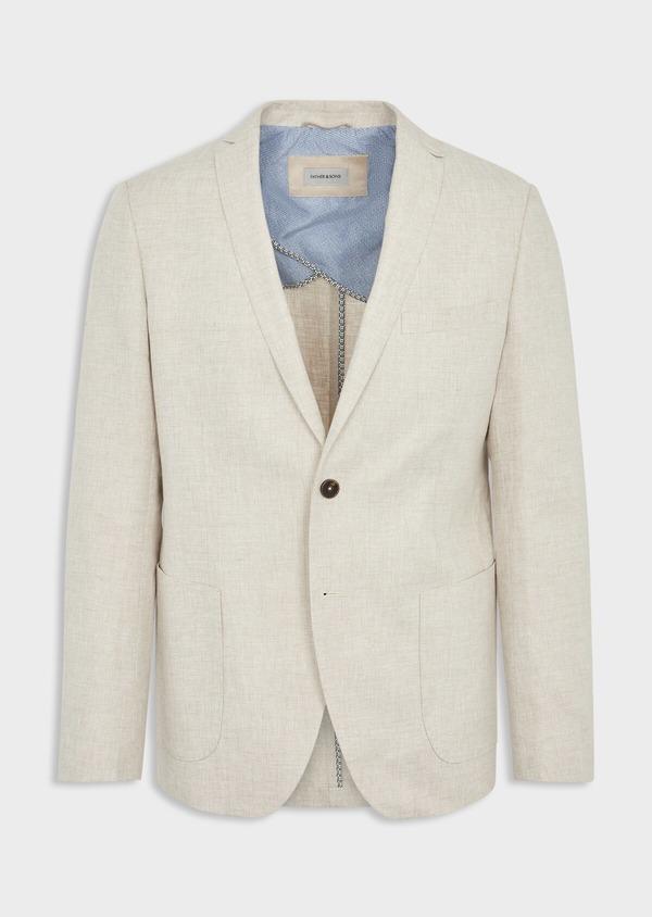 Veste coordonnable Regular en lin et coton uni beige - Father and Sons 39980