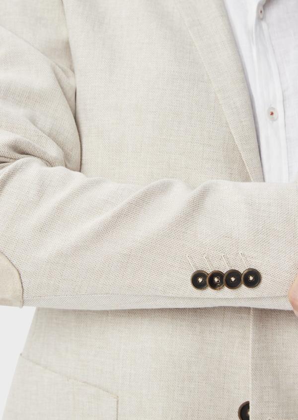 Veste coordonnable Regular en lin et coton uni beige - Father and Sons 39985