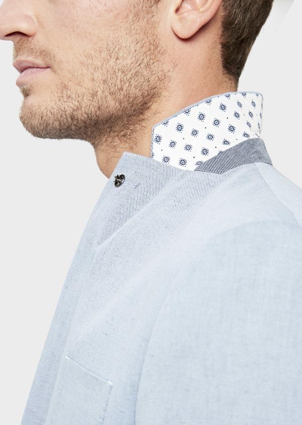 Veste coordonnable Regular en coton et lin uni bleu chambray - Father and Sons 39271