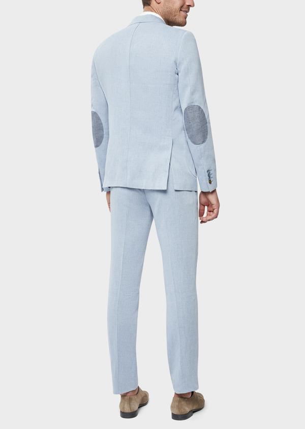 Veste coordonnable Regular en coton et lin uni bleu chambray - Father and Sons 39270