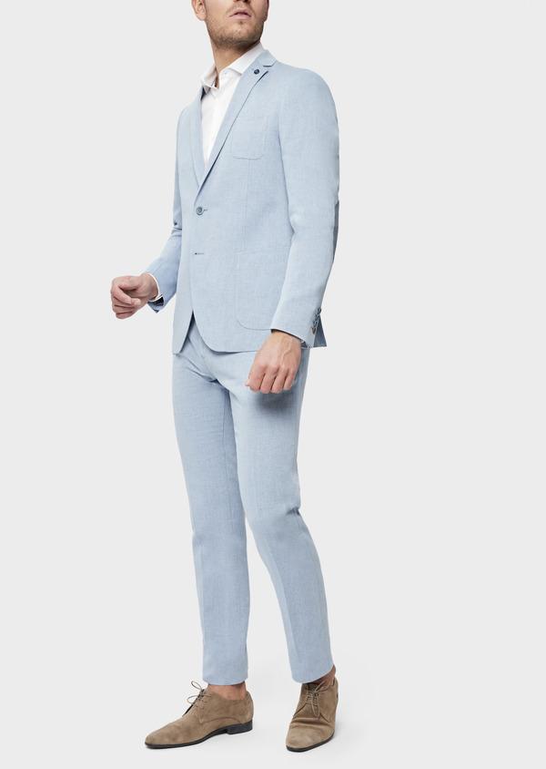 Veste coordonnable Regular en coton et lin uni bleu chambray - Father and Sons 39269