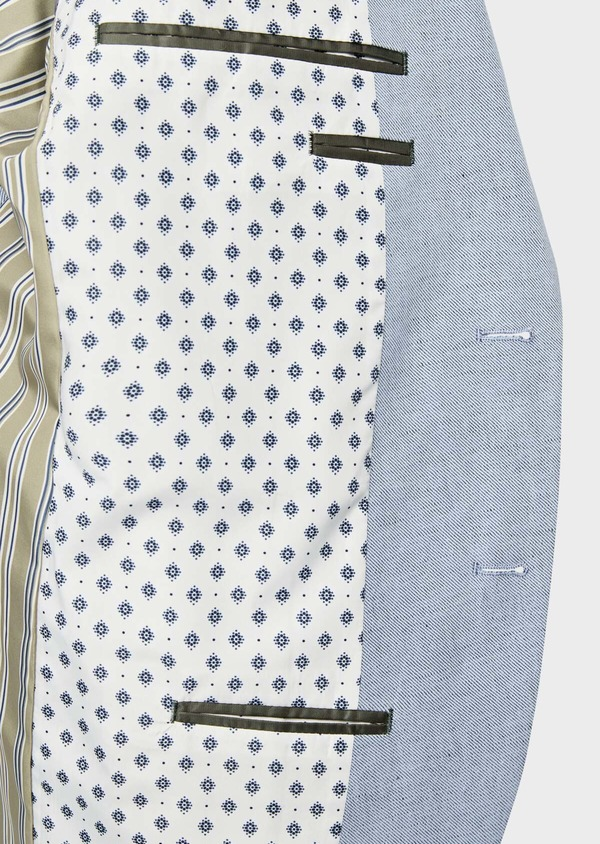 Veste coordonnable Regular en coton et lin uni bleu chambray - Father and Sons 39273