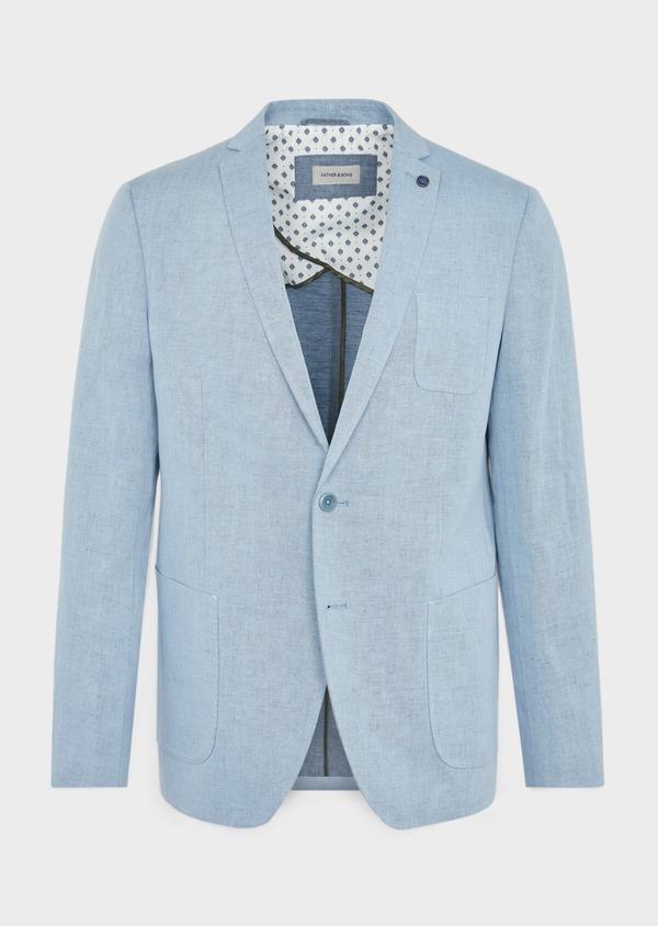 Veste coordonnable Regular en coton et lin uni bleu chambray - Father and Sons 39267