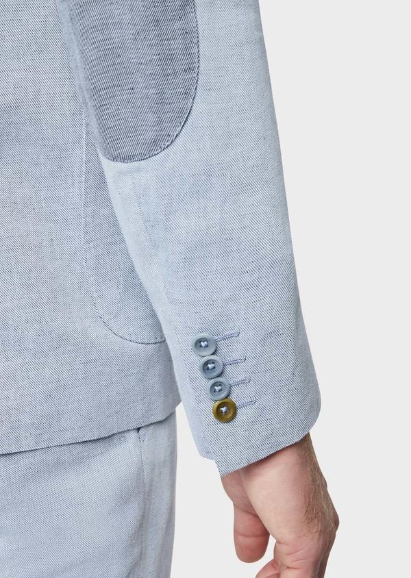 Veste coordonnable Regular en coton et lin uni bleu chambray - Father and Sons 39272