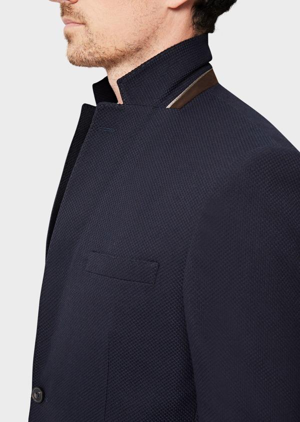 Veste casual regular en coton mélangé façonné bleu indigo - Father and Sons 40607
