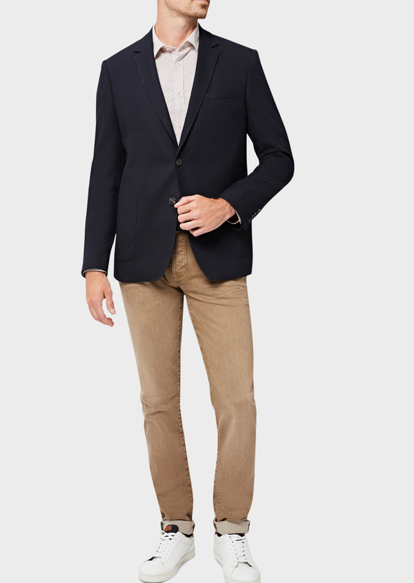 Veste casual regular en coton mélangé façonné bleu indigo - Father and Sons 40609