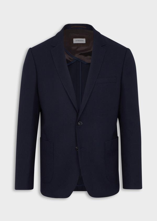 Veste casual regular en coton mélangé façonné bleu indigo - Father and Sons 40604