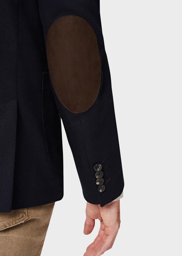 Veste casual regular en coton mélangé façonné bleu indigo - Father and Sons 40608