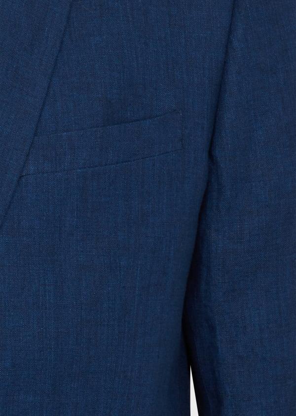 Veste coordonnable Regular en lin uni bleu indigo - Father and Sons 39988
