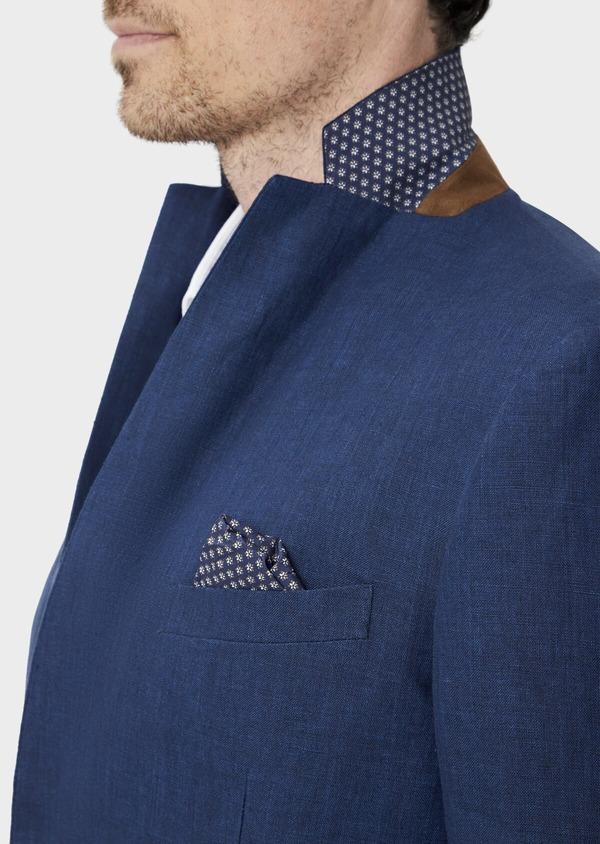 Veste coordonnable Regular en lin uni bleu indigo - Father and Sons 39994