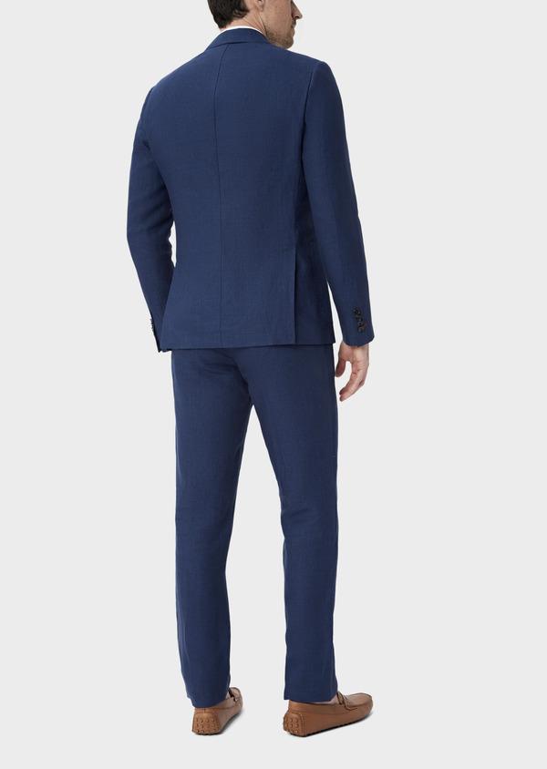 Veste coordonnable Regular en lin uni bleu indigo - Father and Sons 39990