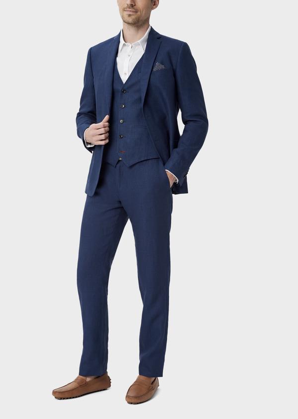 Veste coordonnable Regular en lin uni bleu indigo - Father and Sons 39989