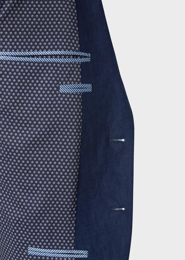 Veste coordonnable Regular en lin uni bleu indigo - Father and Sons 39993