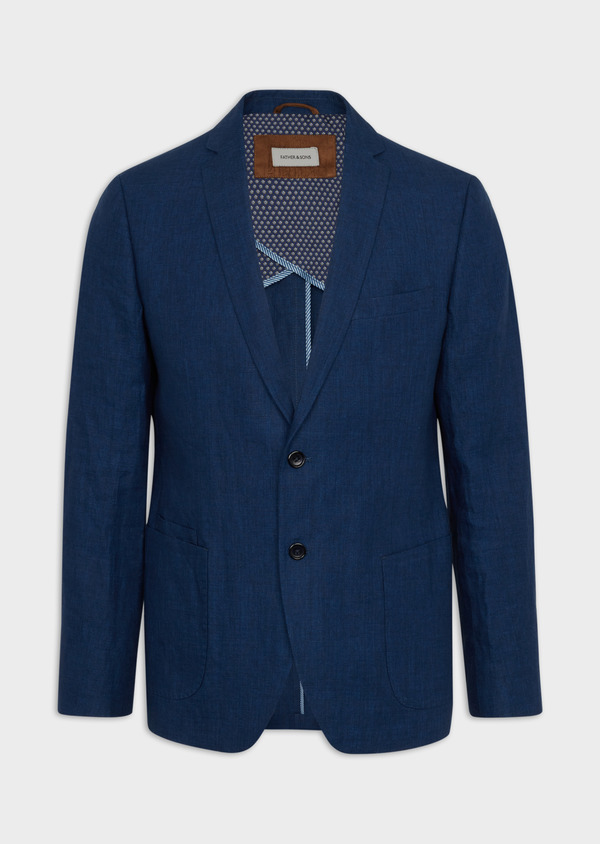 Veste coordonnable Regular en lin uni bleu indigo - Father and Sons 39987