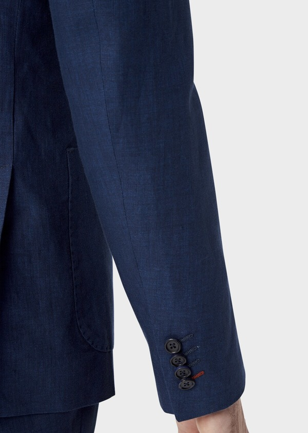 Veste coordonnable Regular en lin uni bleu indigo - Father and Sons 39992