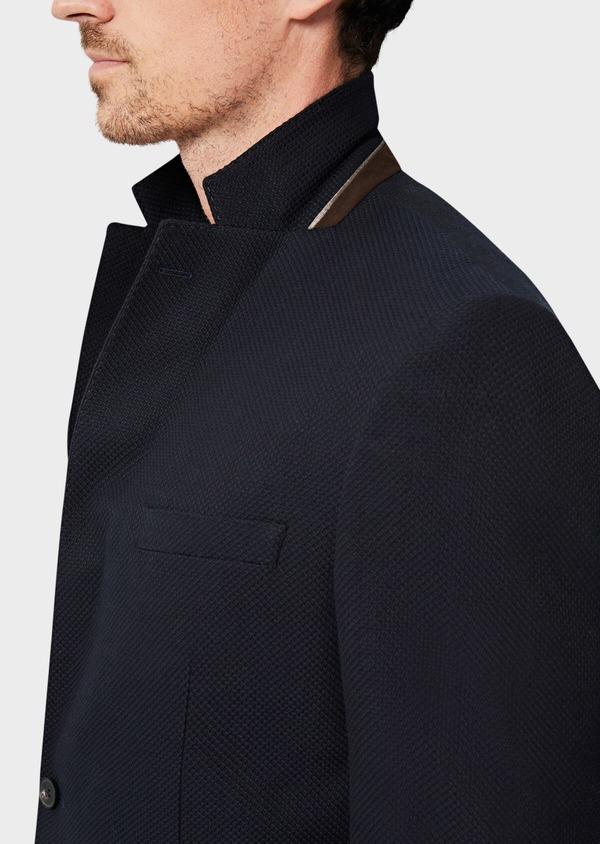 Veste casual regular en coton mélangé façonné bleu marine - Father and Sons 40602