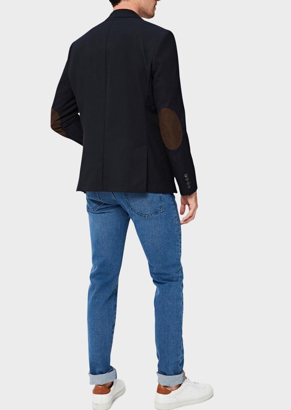 Veste casual regular en coton mélangé façonné bleu marine - Father and Sons 40601