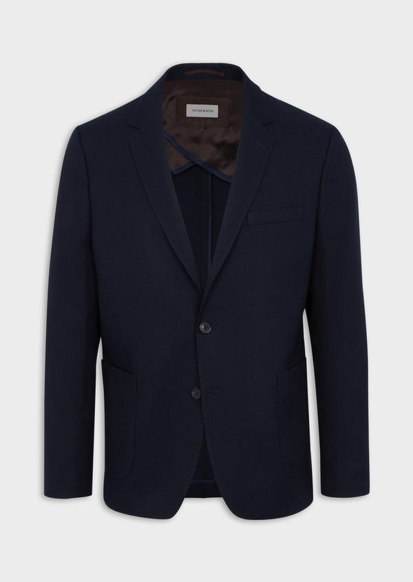 Veste casual regular en coton mélangé façonné bleu marine - Father and Sons 40598