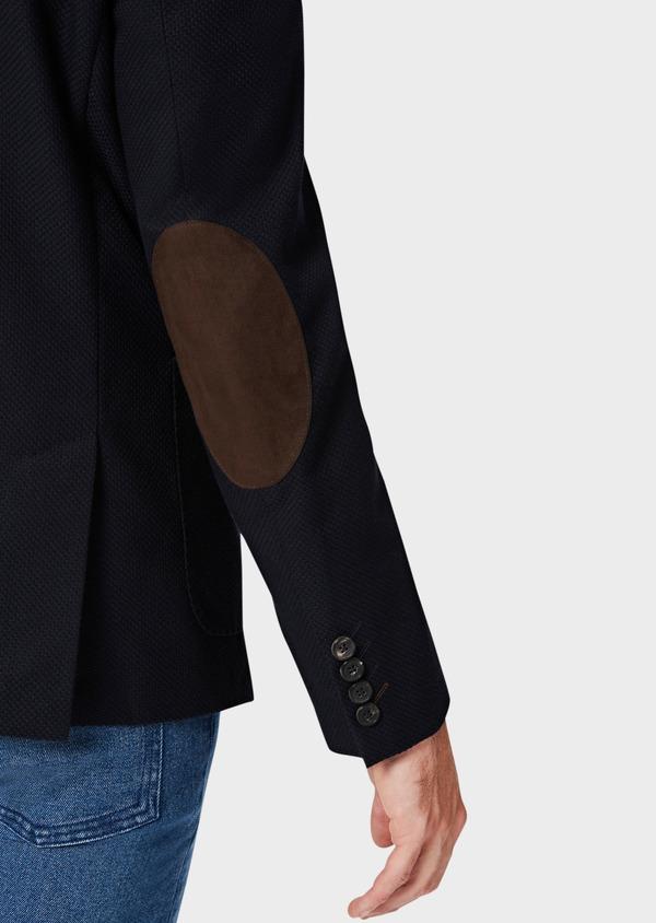 Veste casual regular en coton mélangé façonné bleu marine - Father and Sons 40603