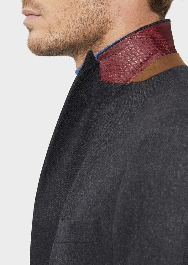 Veste casual Slim en laine mélangée unie gris anthracite - Father and Sons 36241