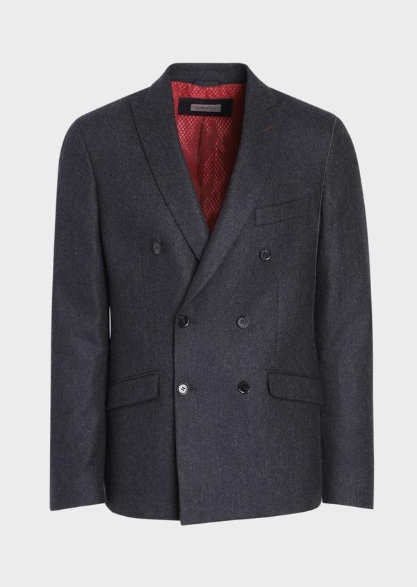 Veste casual Slim en laine mélangée unie gris anthracite - Father and Sons 36237