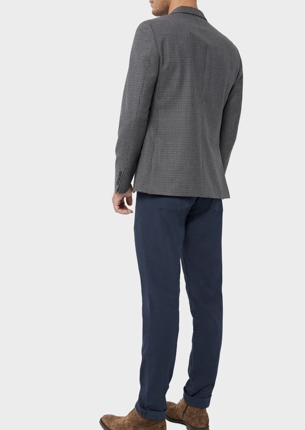 Veste casual Slim en laine mélangée grise Prince de Galles - Father and Sons 36254