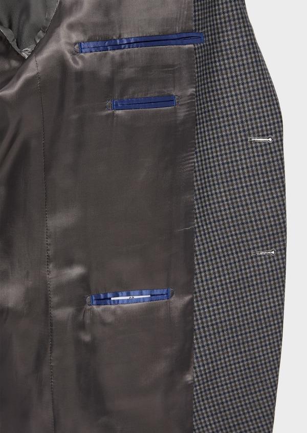 Veste casual Slim en laine mélangée grise Prince de Galles - Father and Sons 36257