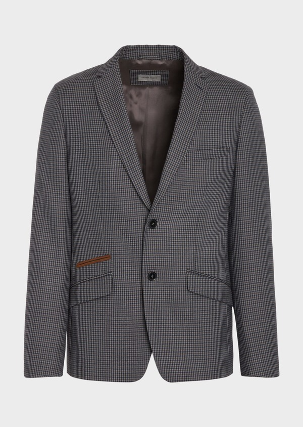 Veste casual Slim en laine mélangée grise Prince de Galles - Father and Sons 36251