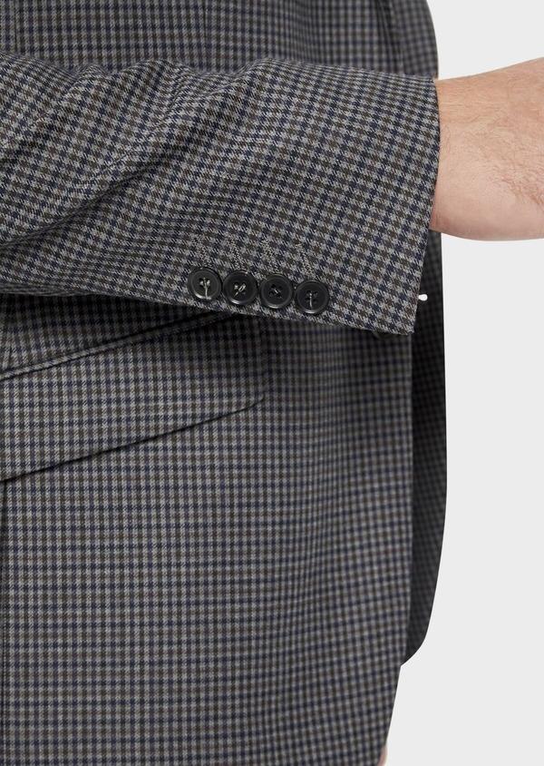Veste casual Slim en laine mélangée grise Prince de Galles - Father and Sons 36256
