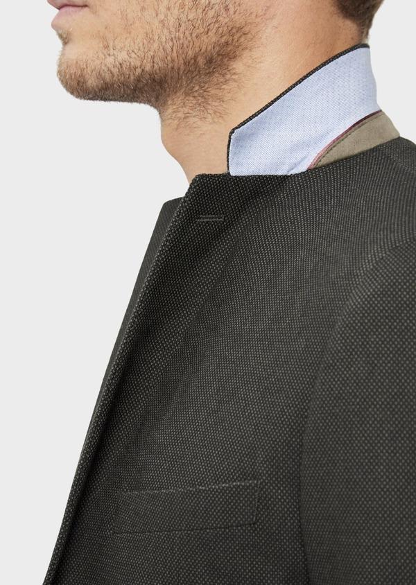 Veste coordonnable Slim en coton mélangé vert kaki à pois - Father and Sons 36224