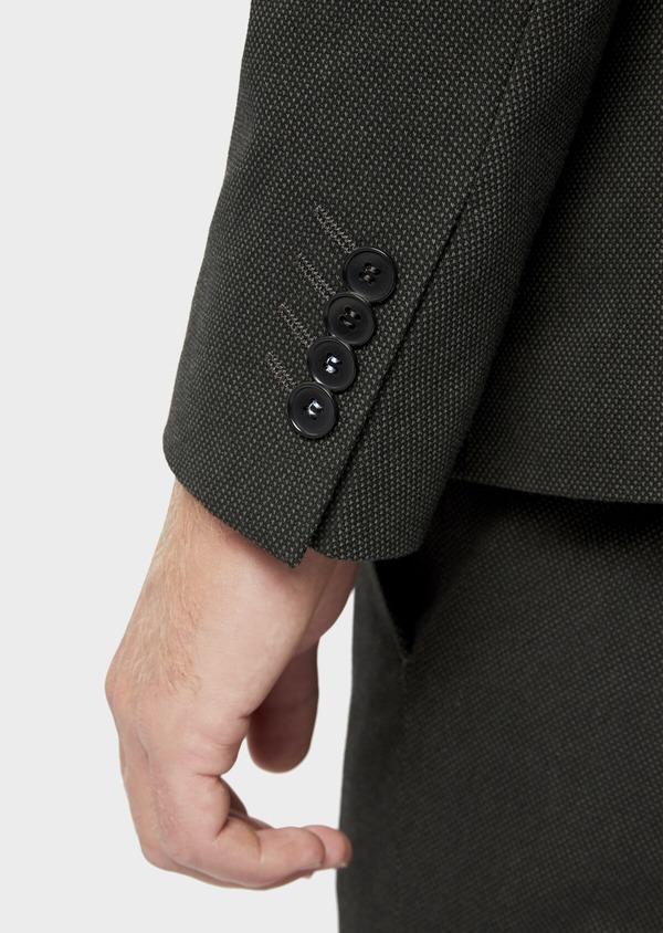 Veste coordonnable Slim en coton mélangé vert kaki à pois - Father and Sons 36225