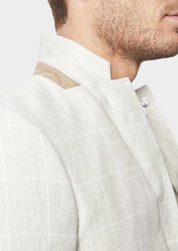Veste coordonnable Slim en lin beige Prince de Galles - Father and Sons 38890